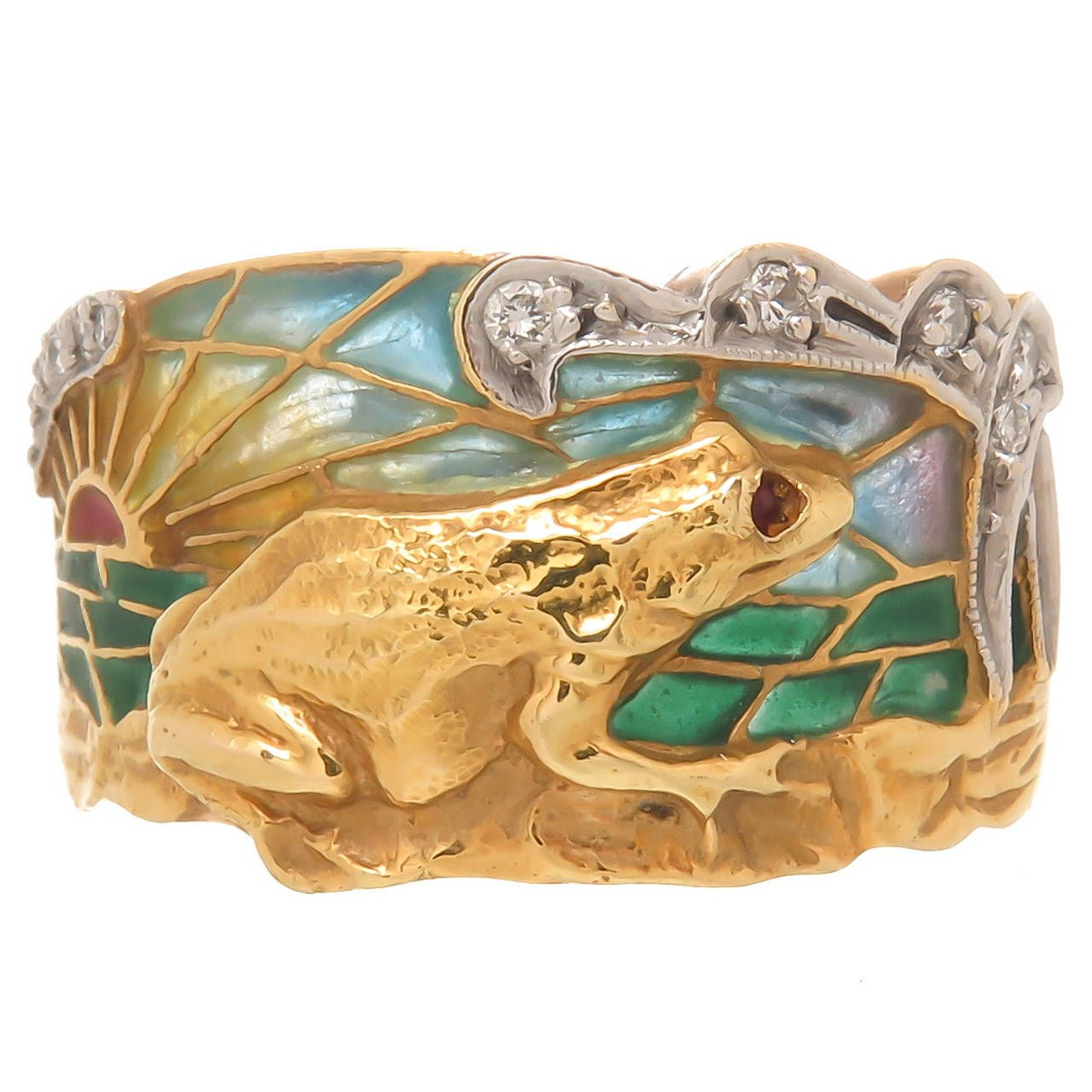 Masriera Plique-a-Jour Enamel Gold Frog Ring | From a unique collection of vintage cocktail rings at https://www.1stdibs.com/jewelry/rings/cocktail-rings/