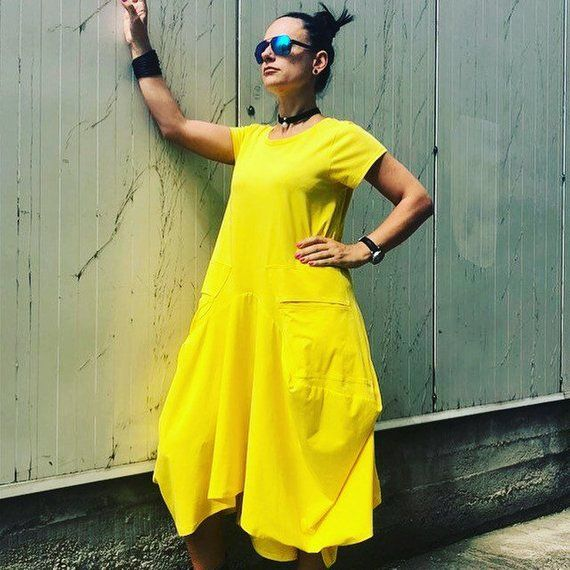 Yellow Dress/ Caftan/ Loose Dress/ Womens Clothing/ Plus Size Clothing for Women/ Oversized Dress/ Long Dress/ Plus size Maxi Dress