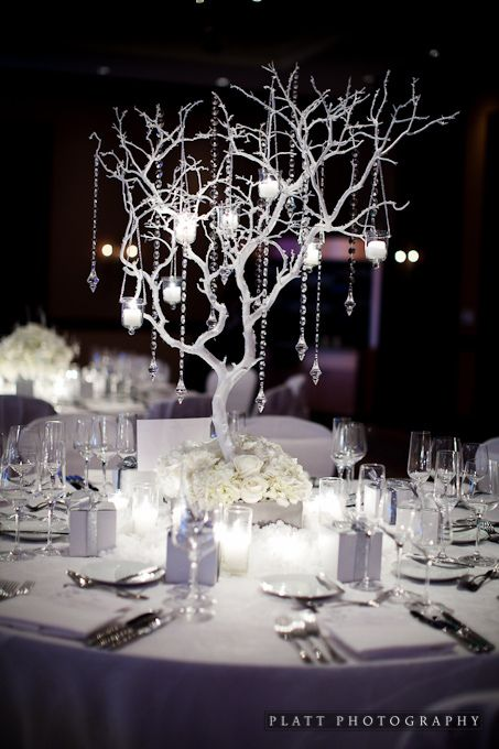 White Reception Table Setting Not Crazy About The Branch Centerpiece But I Winter Wedding Table Winter Wedding Centerpieces Winter Wedding Table Decorations