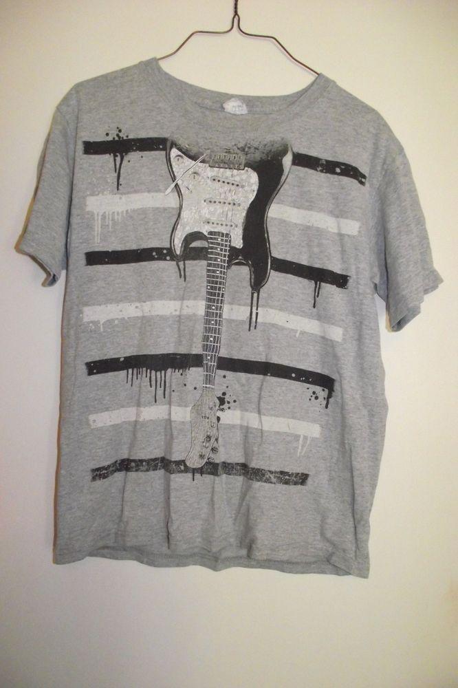 Yazbek Youth Unisex Size Medium Gray T Shirt with Guitar Dripping Stripes Black  #Yazbek #TShirt #Everyday