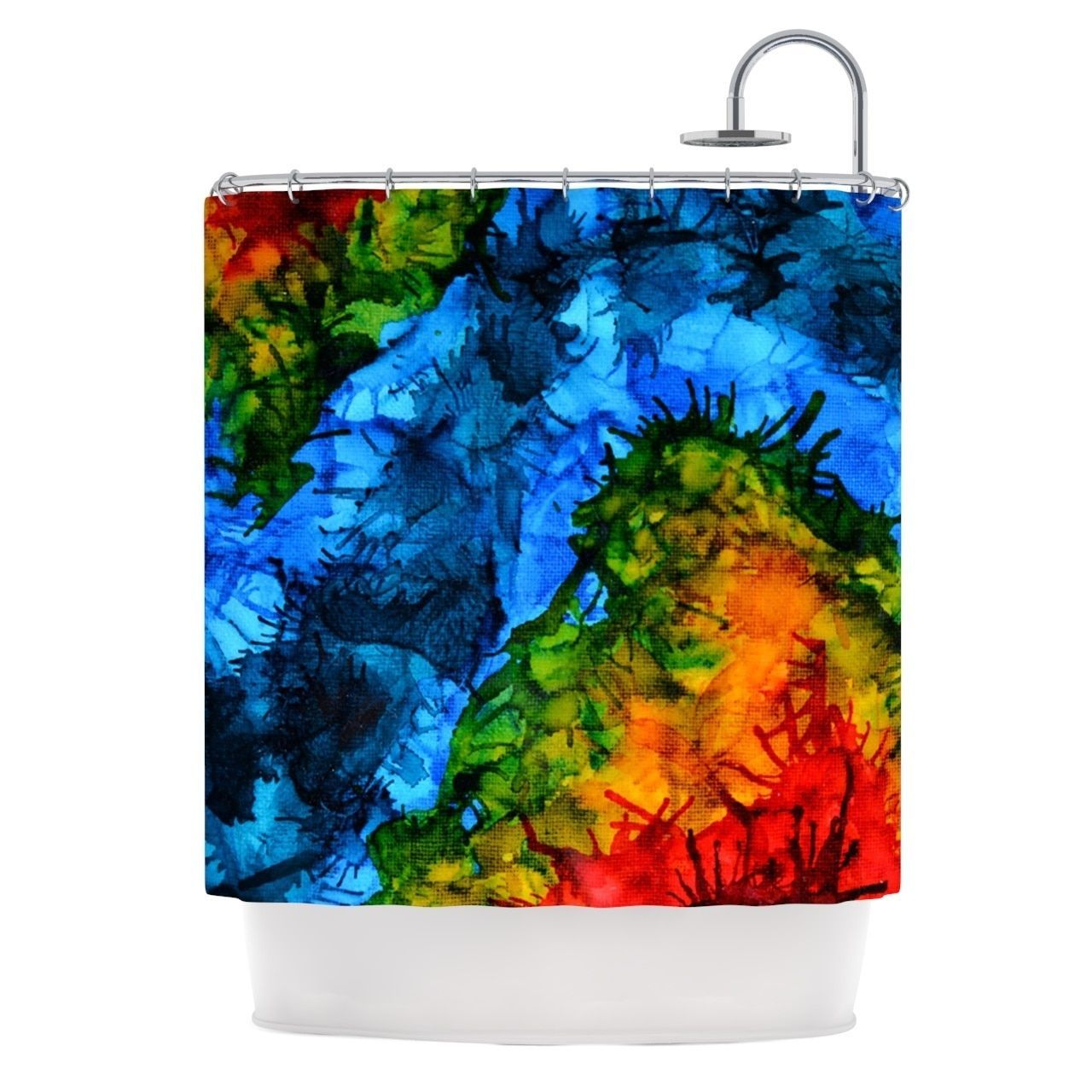 "Kess InHouse Claire Day ""Flow"" Blue Green Shower Curtain"