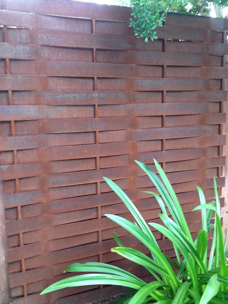 Patio Privacy Fence Basketweave Steel Privacy Fence Gisler Metal Works Pinterest
