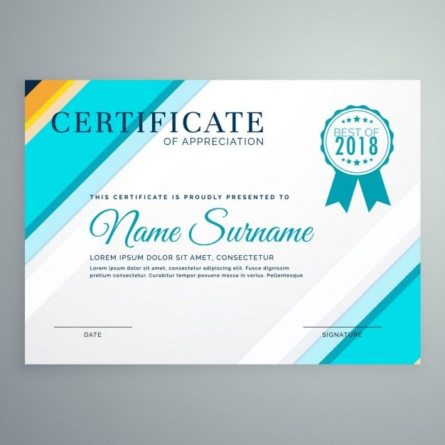 elegant certificate with blue lines free vector graphic design