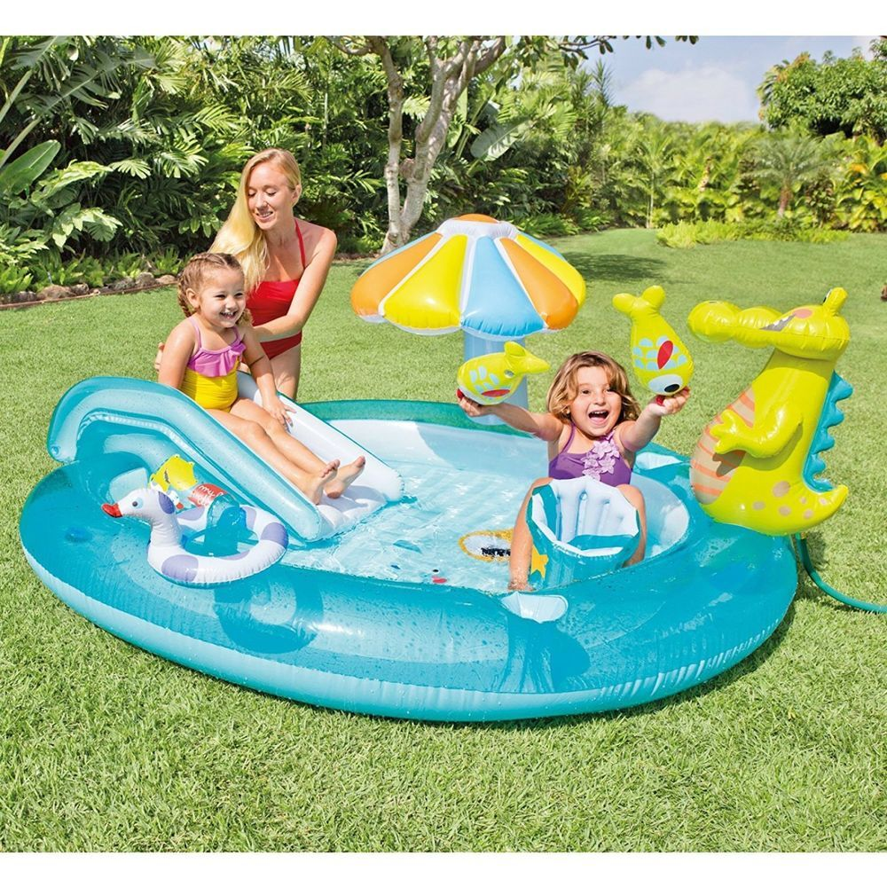 Inflatable Swimming Pool Gator Play Center Slide Turtle Whale Ring Toss Game Fun Intex Children Swimming Pool Kiddie Pool Kid Pool