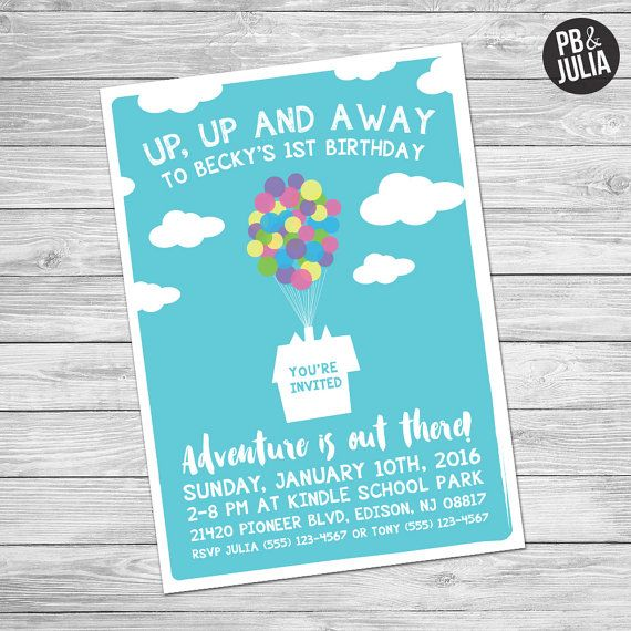 Disney UP Themed Birthday Party Invitation By PeanutButterandJulia