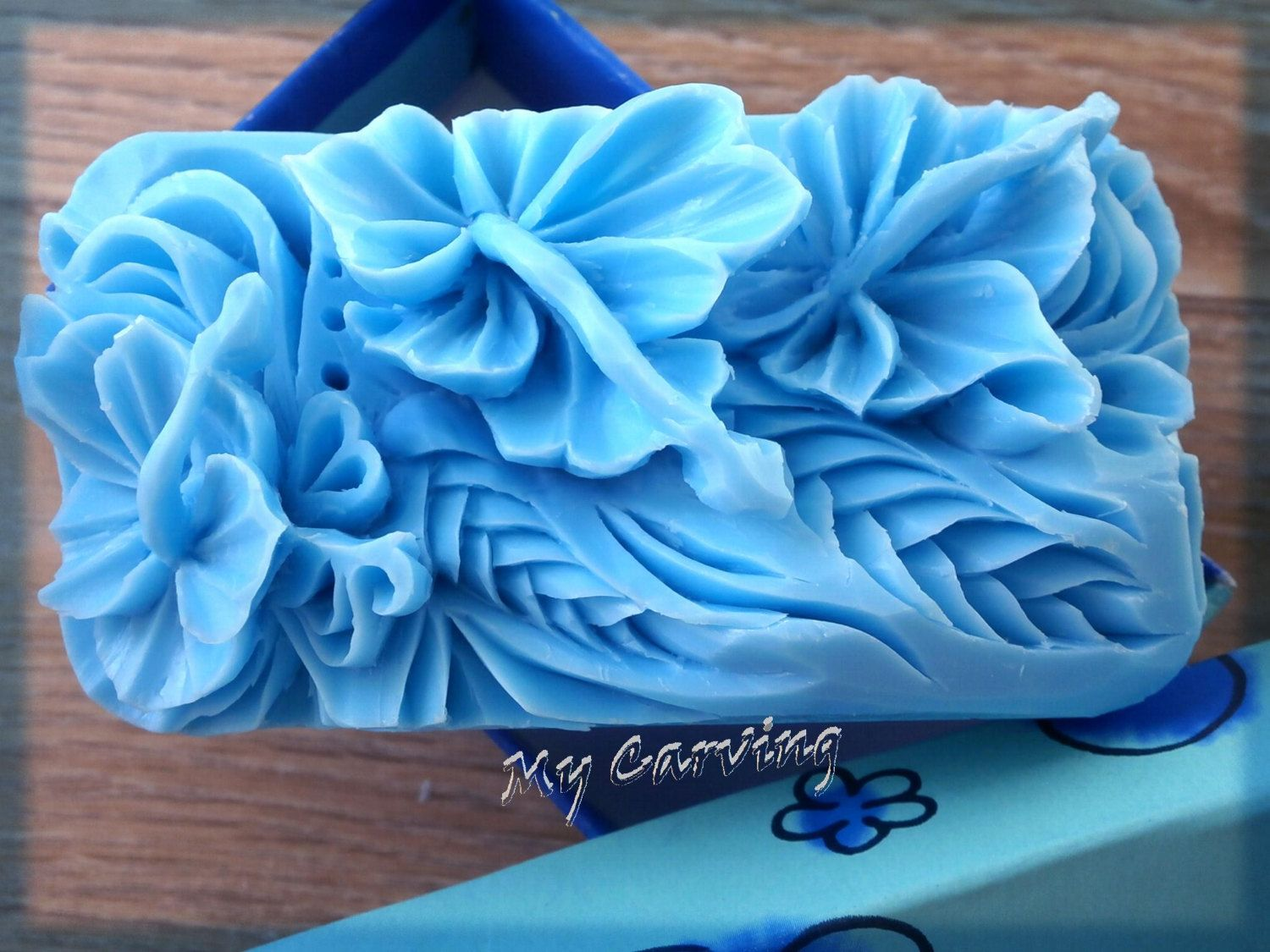carving soap three hibiscus flowers blue carved flowers hibiscus