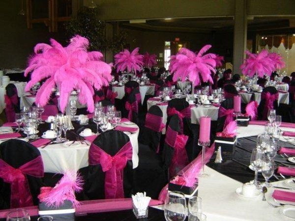 Pink Black White Wedding Cakes And Centerpieces Party