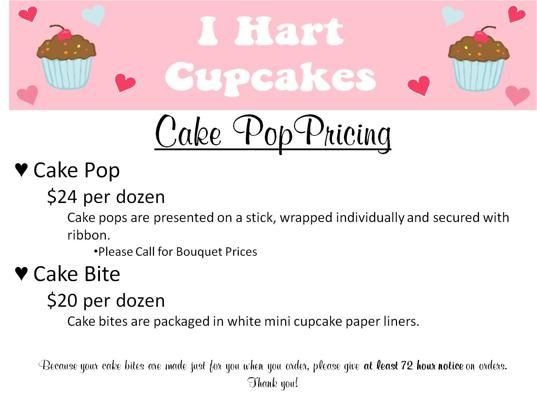 Cake Pop Pricing Bakery Pinterest Cake pop prices, Cake pop - cupcake order form