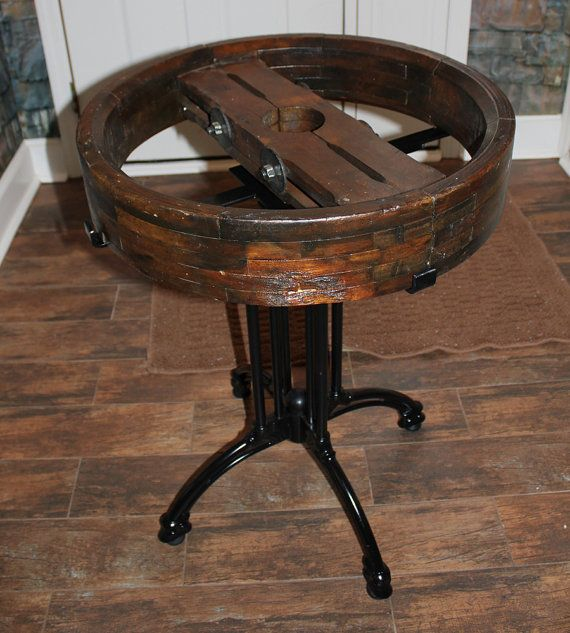 Vintage Wooden Belt Pulley Table Decor Wooden Pulley