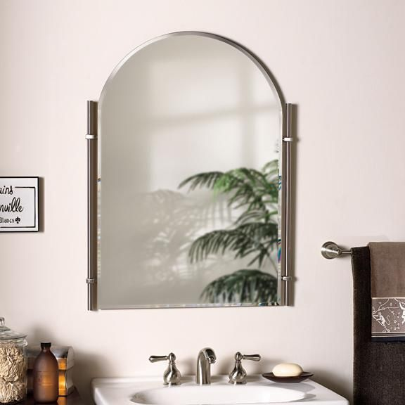 Traditional Brushed Nickel Chateau Bathroom Mirror With Images