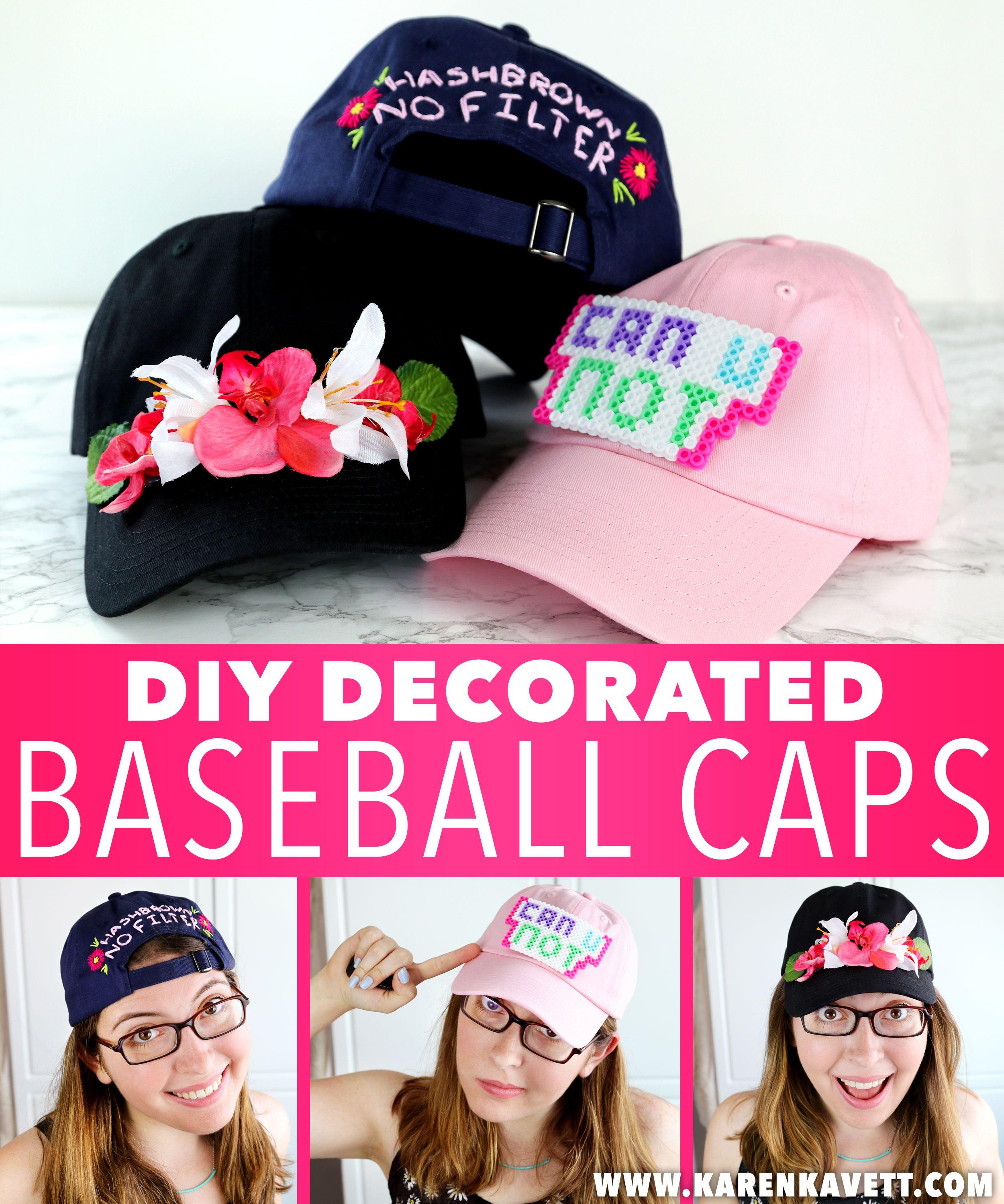 Diy Decorated Baseball Caps 3 Ways Karen Kavett Baseball Hats Monogram Baseball Cap Wall Hats