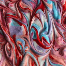 Swirl together food colouring and shaving cream to make awesome marbleized prints! Place shiny photo paper onto the top of the foam then simply wipe off! Great for ATC's