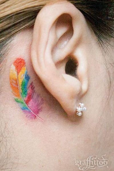 25 Cute Behind The Ear Tattoos You Ll Want To Copy Asap Feather Tattoo Behind Ear Ear Tattoo Simplistic Tattoos