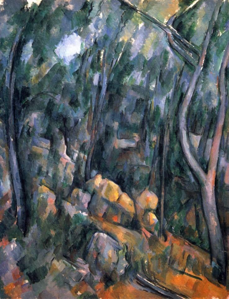 Amantes del Arte Paul Cézanne, Bosque y cuevas de roca por encima de Château Noir, 1900-04. Óleo sobre lienzo, 90.7 x 71.4 cm, National Gallery, Londres