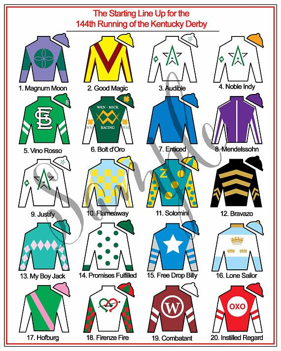 photo regarding Printable List of Kentucky Derby Horses named Kentucky Derby Celebration Printables LEADERBOARD Jockey Jersey