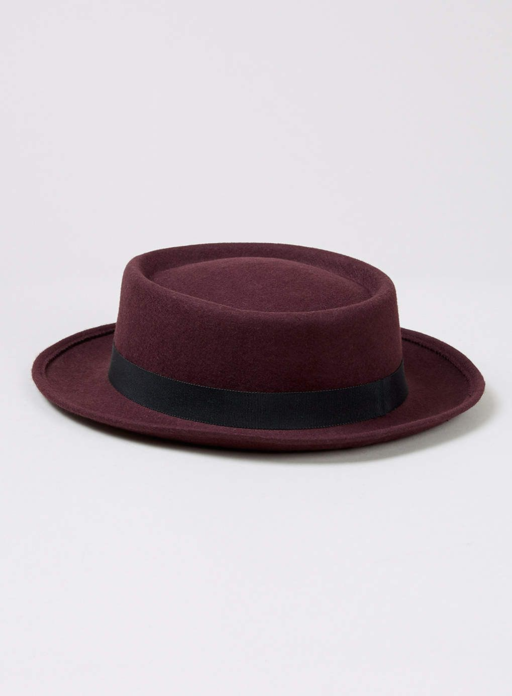 TOPMAN BURGUNDY WOOL PORK PIE HAT  0d03236ba38