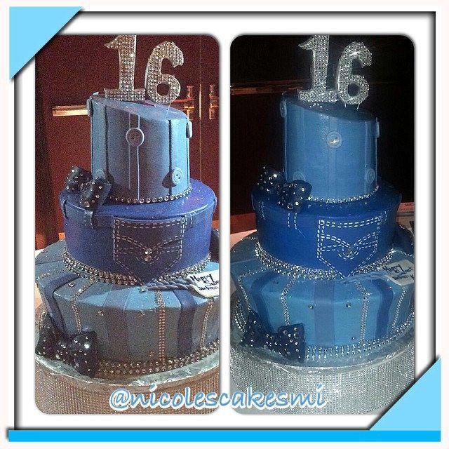 Denim And Diamonds Cake | Denim And Diamonds Sweet 16 Cake Buttercream With  Fondant Decorations .