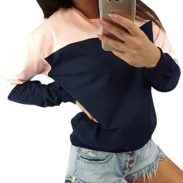 7086ba4e2a378 Autumn Femme Winter Patchwork Pullover Sexy T-shirts Women Top Tee Casual  Red Tshirt Plus