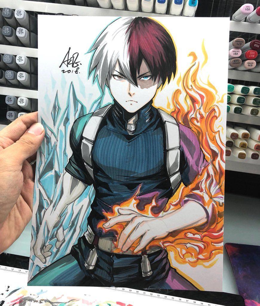 Shoto Todoroki Copic Drawings Anime Anime Artwork