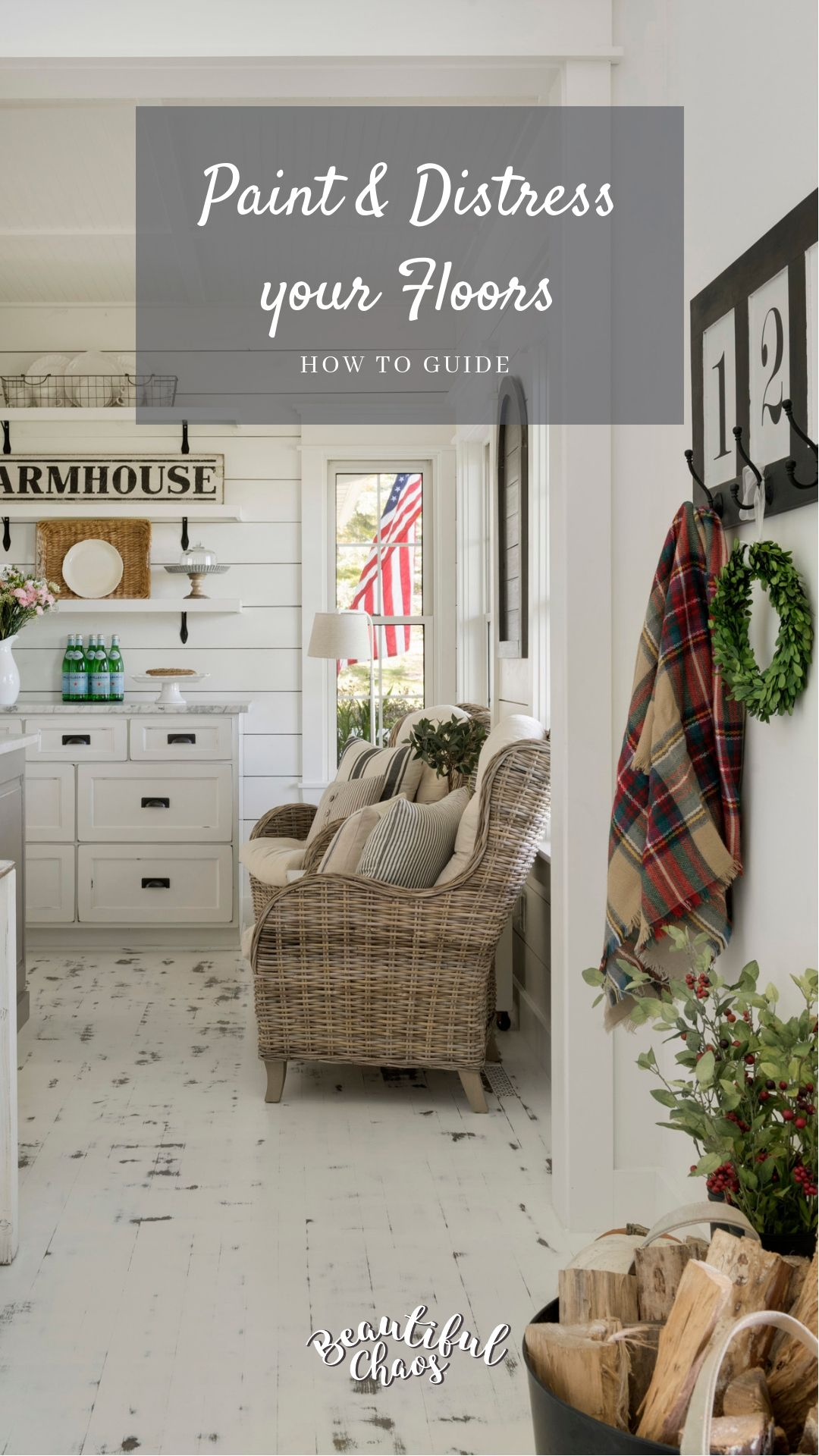Paint And Distress Your Floors White Farmhouse Decor Trends Flooring Painted Wood Floors