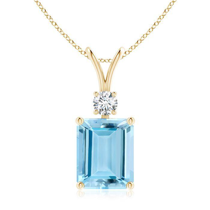 Angara Solitaire Emerald V-Bale Necklace Pendant in Platinum pyf7JvbW