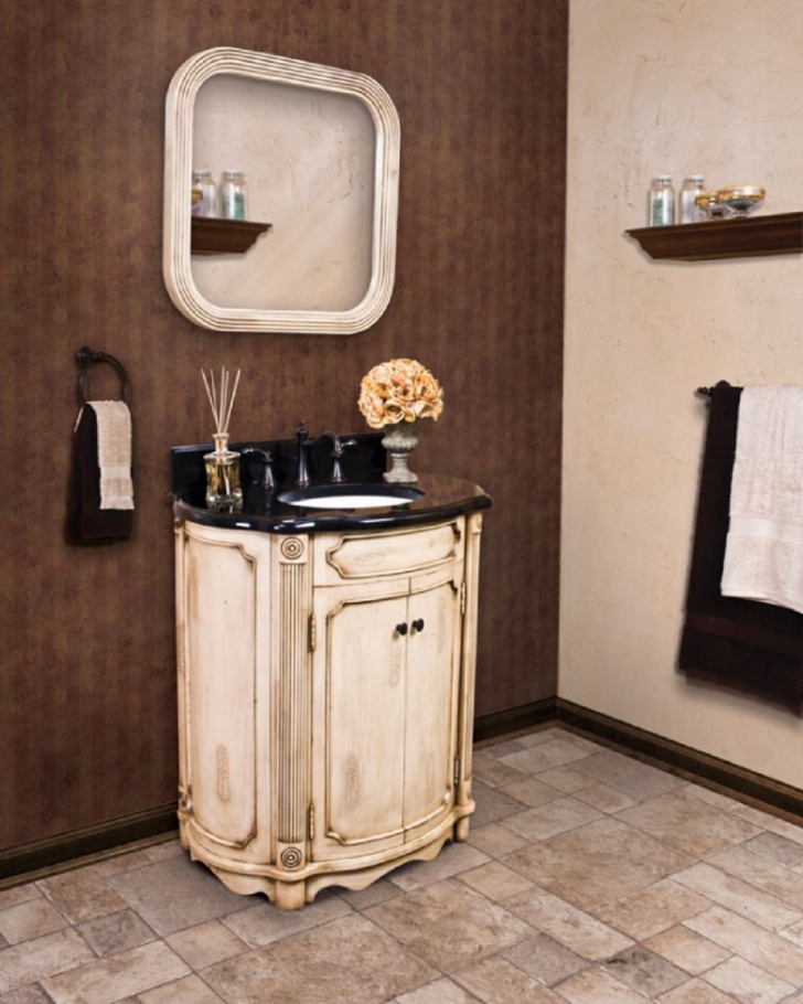 32 Inch French Country Bathroom Vanity With Reed Column Accents