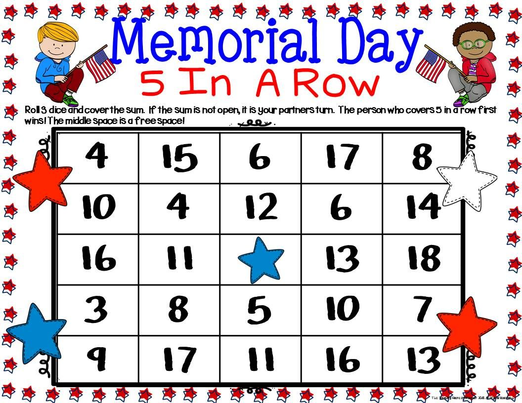 Memorial Day Math Center Dice Games