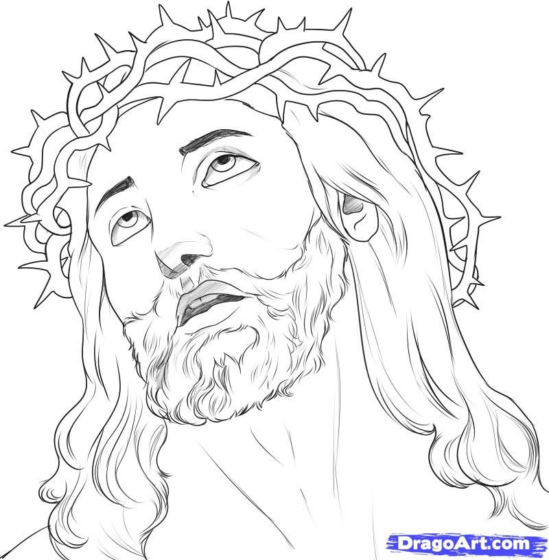 D Line Drawing Easy : Jesus christ on the cross drawings how to draw