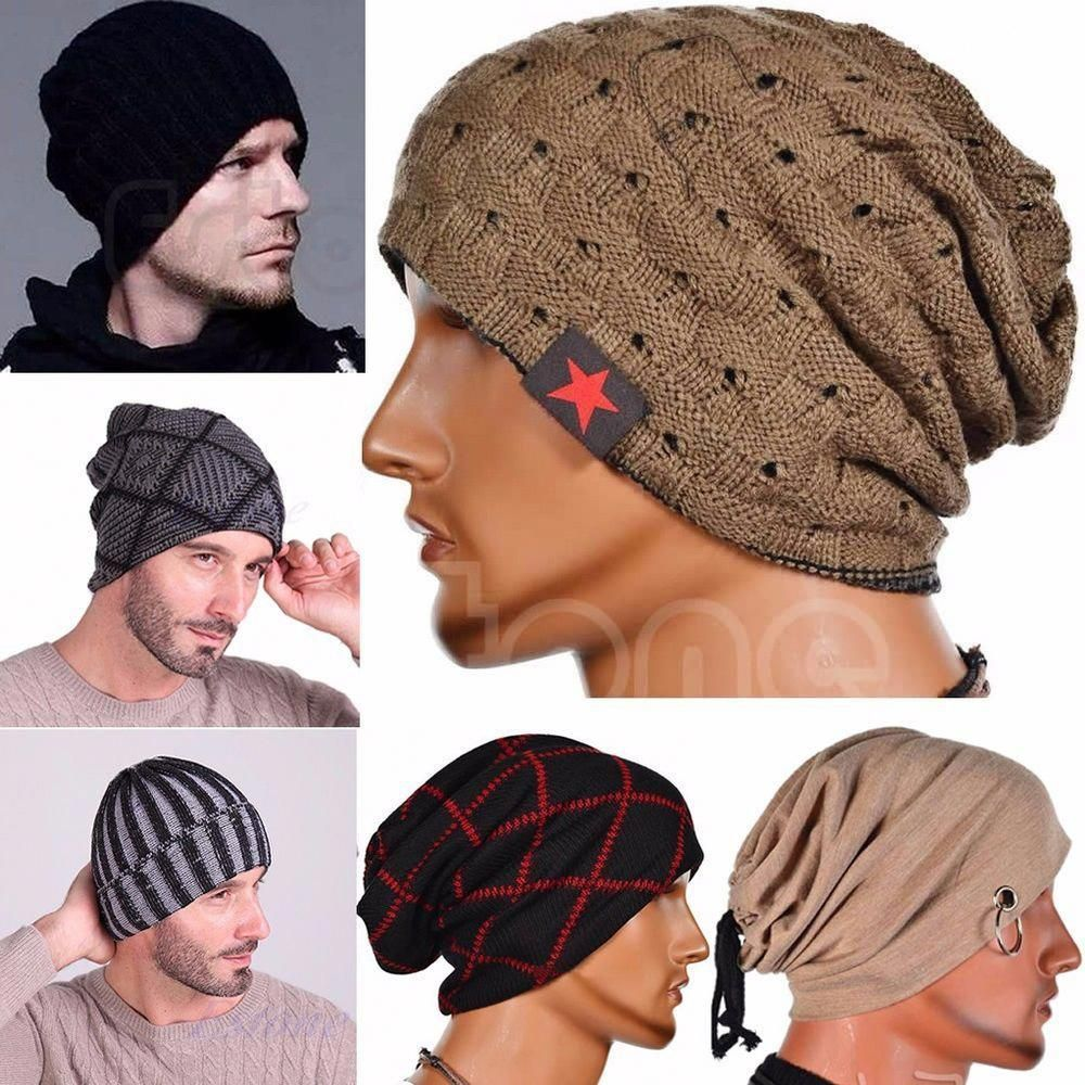 f636adfaa3b Men s Women s Knit Baggy Beanie Oversize Fashion Winter Hat Ski Slouchy  Chic Cap  ItalianFashion