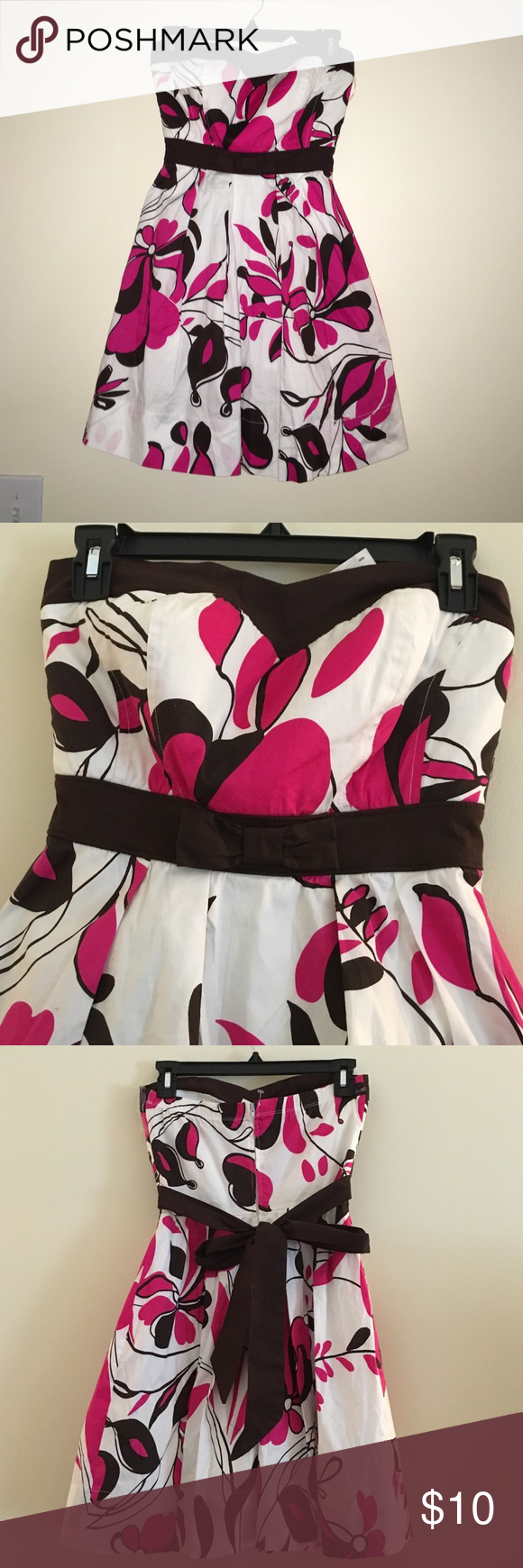 • Beautiful Strapless Dress • White...Pink and Brown with a little poof at the bottom! Ruby Rox Dresses Mini