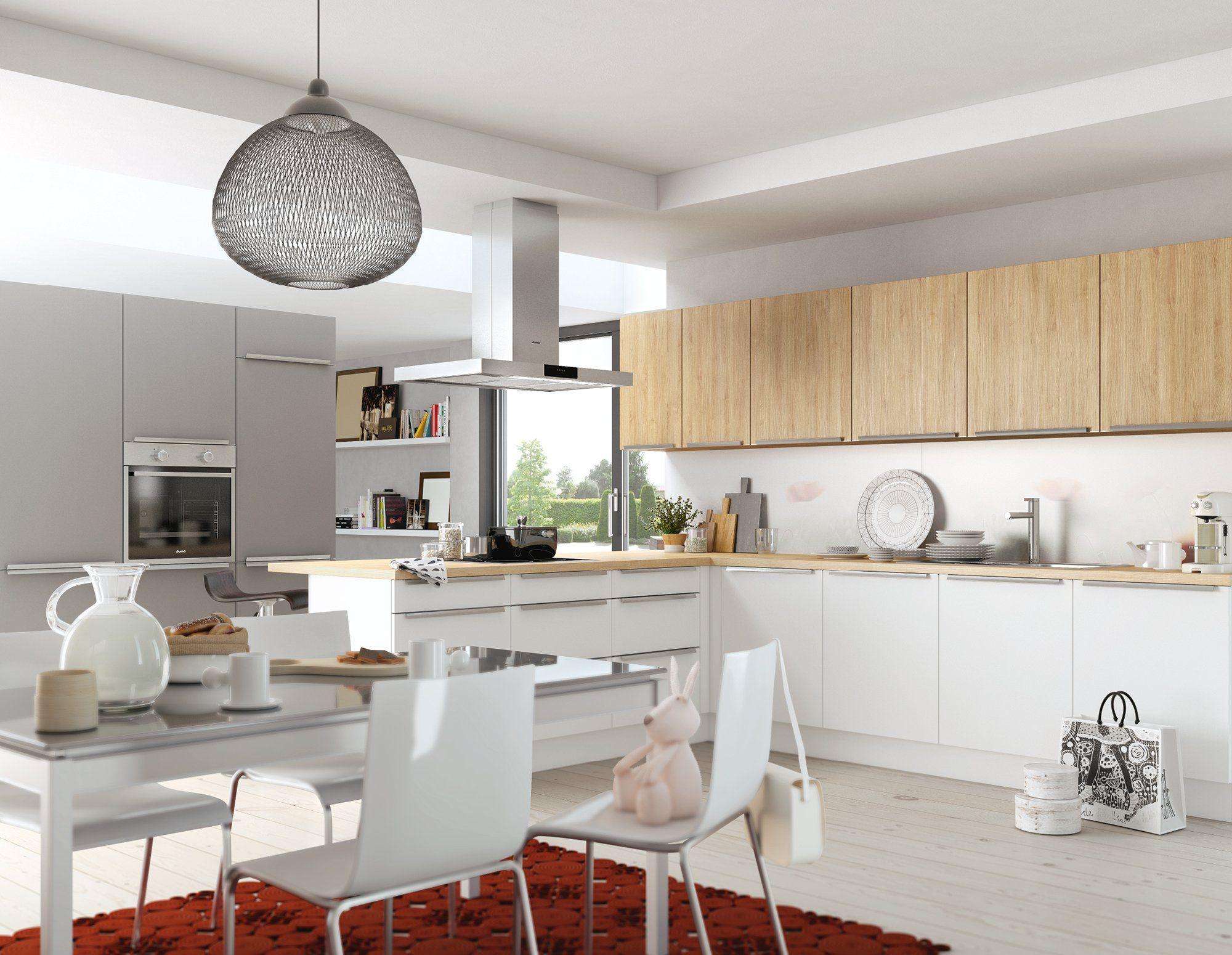 Moderne Familienküche mit Resopal-Fronten in Weiß, Steingrau und Eiche.