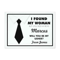 Will You Be My Usher Black/White Tie Custom Invites