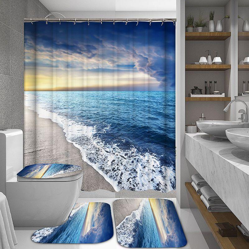 Us 17 99 Sunshine Strand Wasserdichter Duschvorhang Rutschfeste