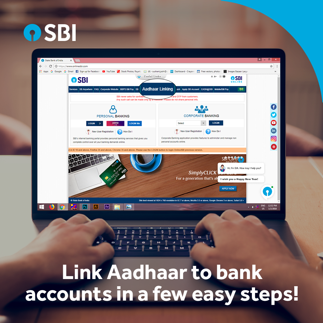 Here S An Easy Way To Link Your Aadhaar Card To Your Sbi Bank Accounts Online Simply Click The Link Given And Follow The S Online Banking Bank Account Banking