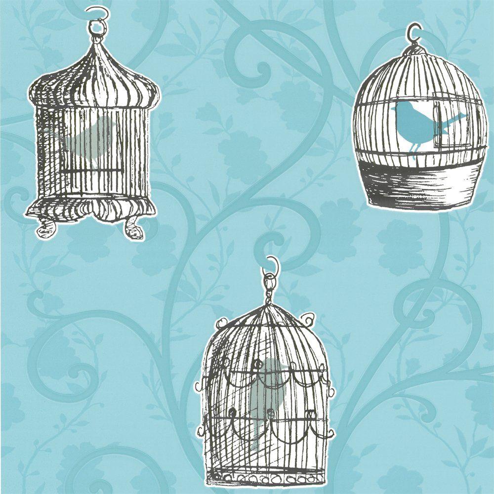 Skylark Bird Cage Wallpaper Teal Blue Cream Birdcage Wallpaper Teal Wallpaper Bird Wallpaper
