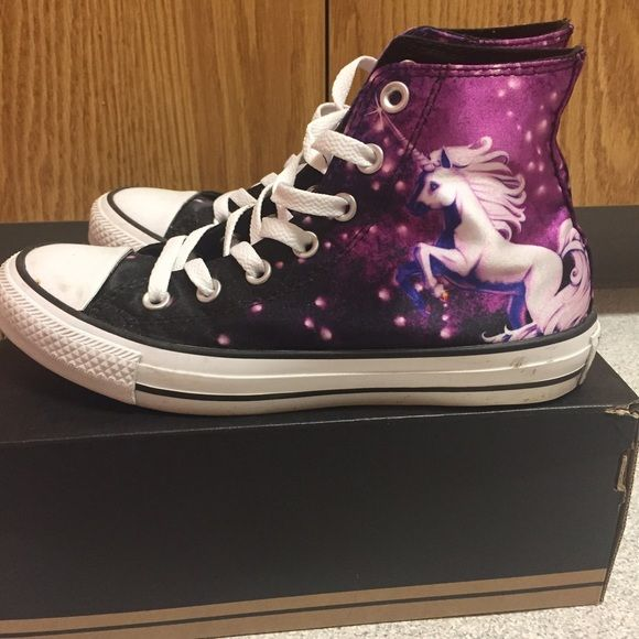 0671228a6002 Galaxy Unicorn high top black and purple converse High top with special  galaxy unicorn design. Purchase from journeys. It is in Men s 5 which is  woman s 7 ...