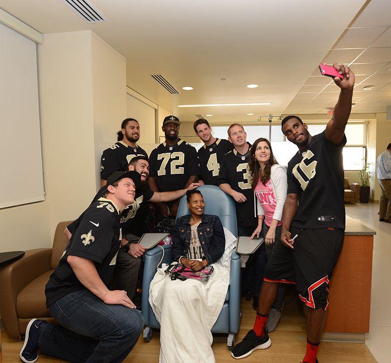 Saints selfie! GoPink Saints players, New orleans saints