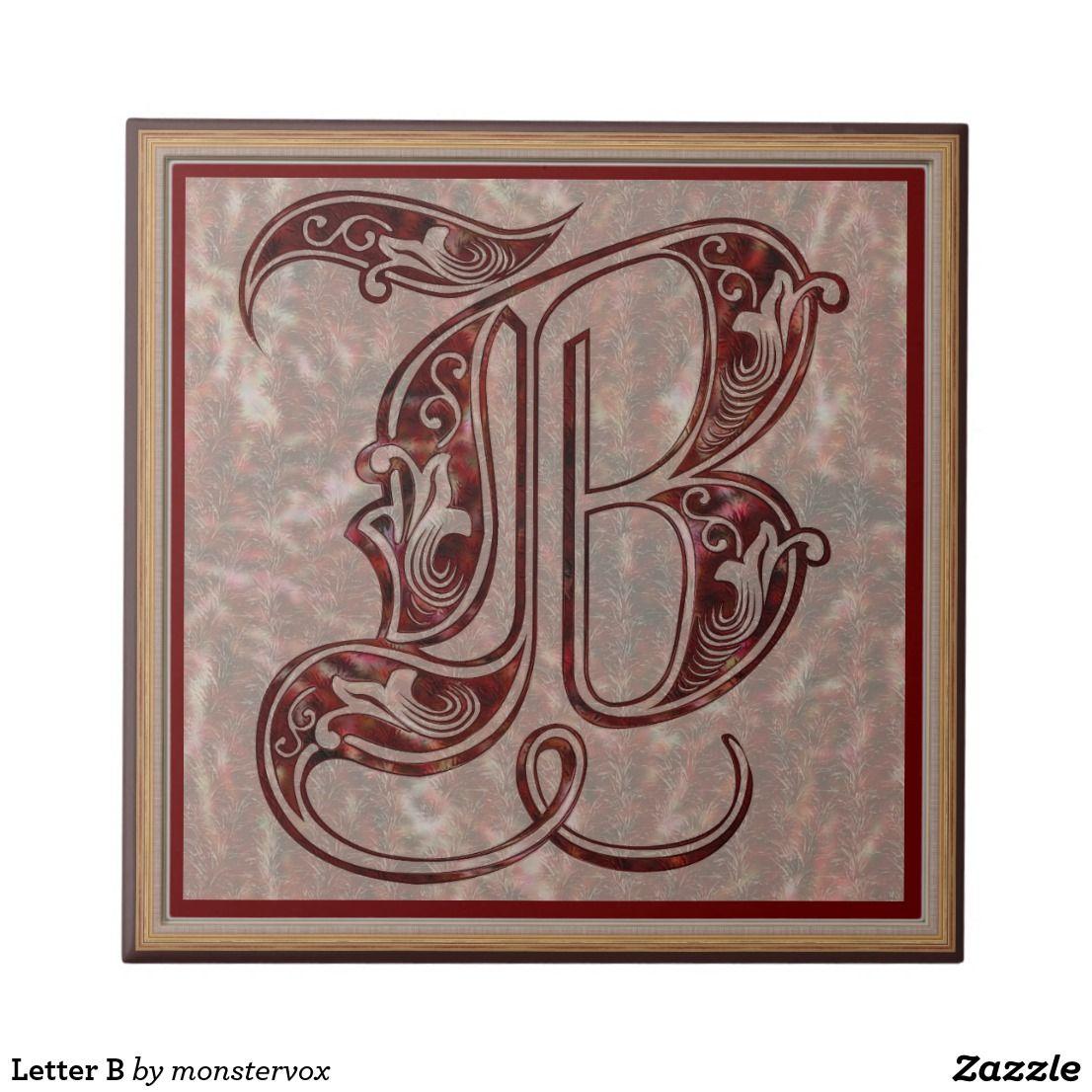 Letter B Ceramic Tile Alphabet Letter Art Home Decor Ceramic