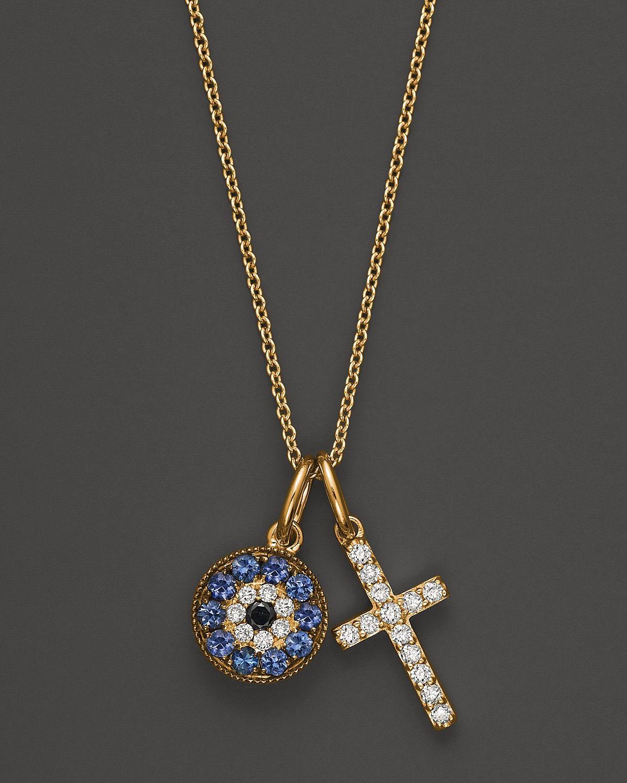 Diamond and sapphire cross and evil eye pendant in 14k yellow gold diamond and sapphire cross and evil eye pendant in 14k yellow gold 15 ct tw 100 exclusive bloomingdales aloadofball Gallery