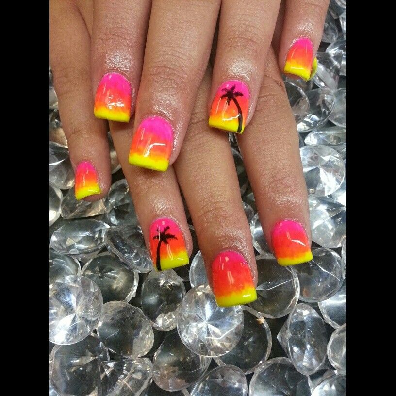 Pin By Lexi Foutz On Nails By Me Palm Tree Nails Cruise Nails Fancy Nails