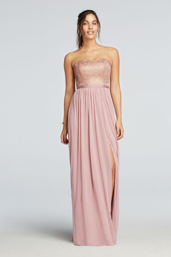 ebff4e2e3726e Metallic Lace and Mesh Long Strapless Bridesmaid Dress - Rose Gold  Metallic, 24