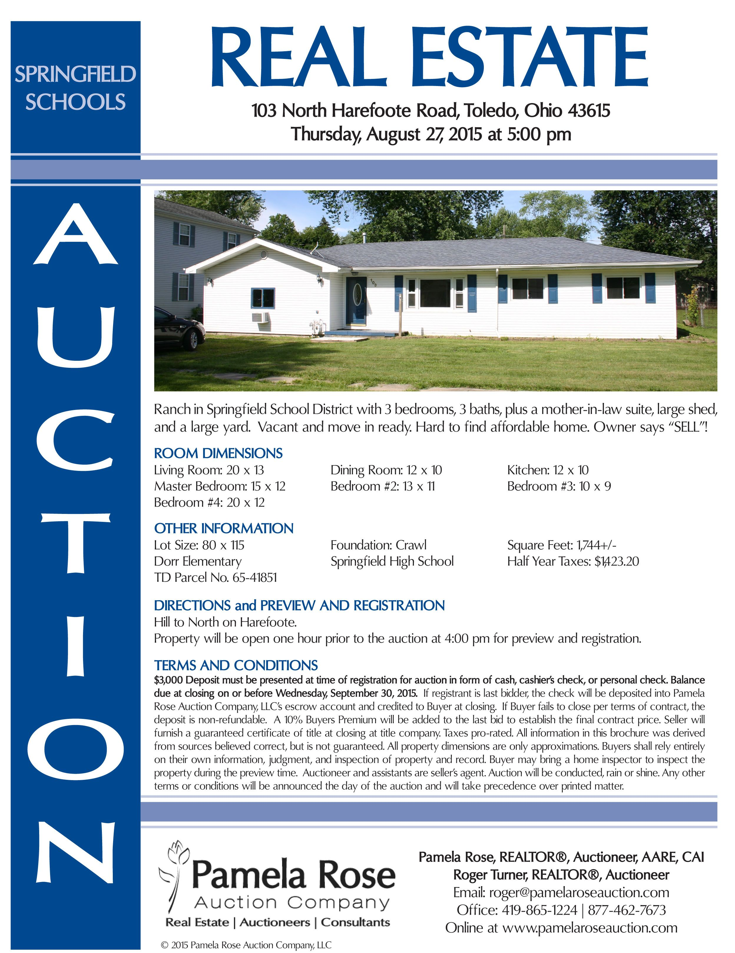 Real Estate Auction At 103 N Harefoote Toledo Oh 43615 On Thurs