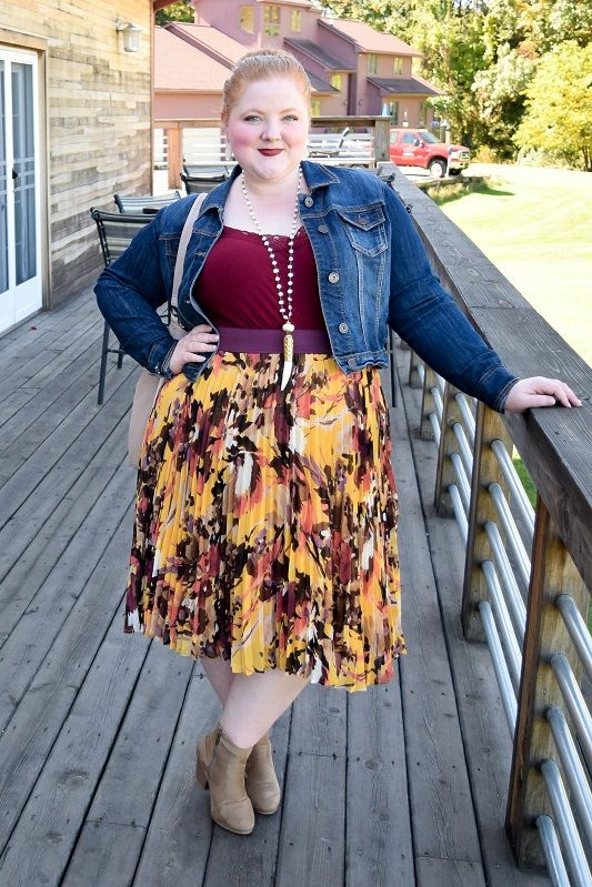 ee23760ee78 Pantone Color of the Month  Spicy Mustard. I wore the color in a pleated  floral skirt from Lane Bryant Outlet and share a roundup of items in this  bold hue!