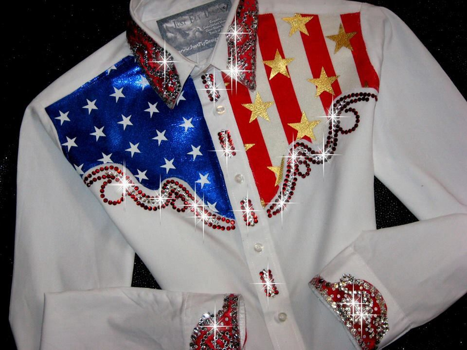 817f622400137 Just Fly Designs Bling Patriotic Grand Entry Rodeo Queen Rodeo Shirt ...