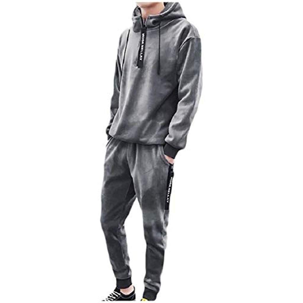 Men Hoodies Strip Velour Sport Tracksuit Coat Jacket Pants Trousers Sets Outfit