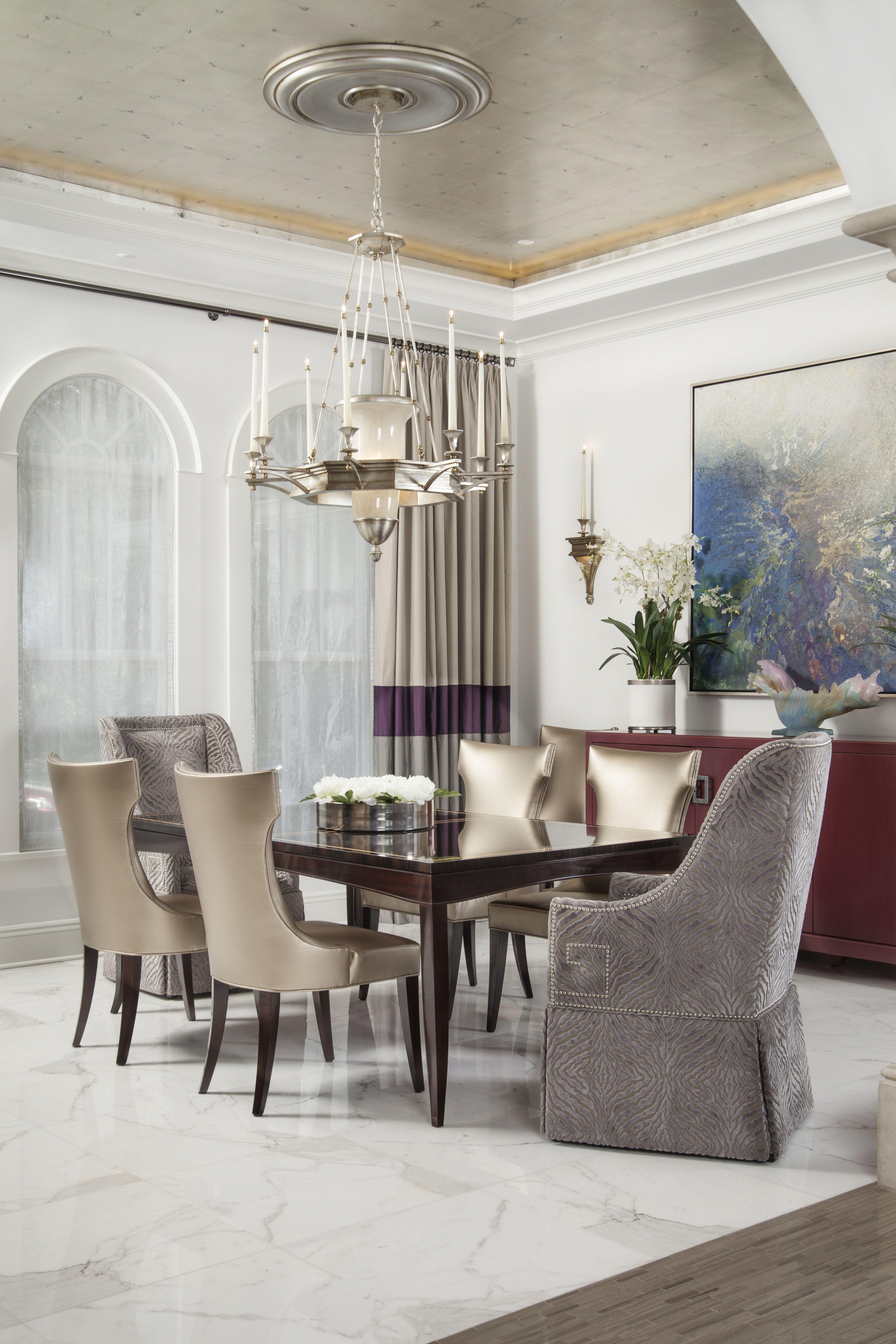 Davis Island Residence, Formal Dining room with metallic