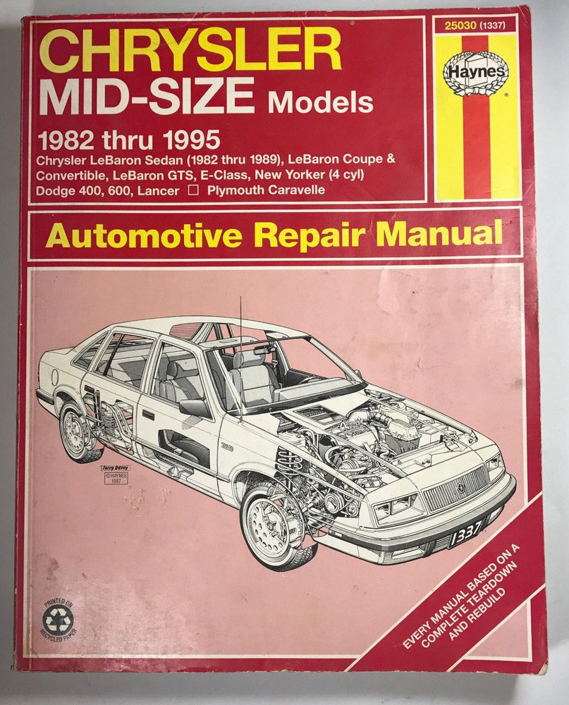 Haynes repair manual chrysler mid size dodge plymouth 1982 thru 1995 haynes repair manual chrysler mid size dodge plymouth 1982 thru 1995 25030 auto fandeluxe Gallery