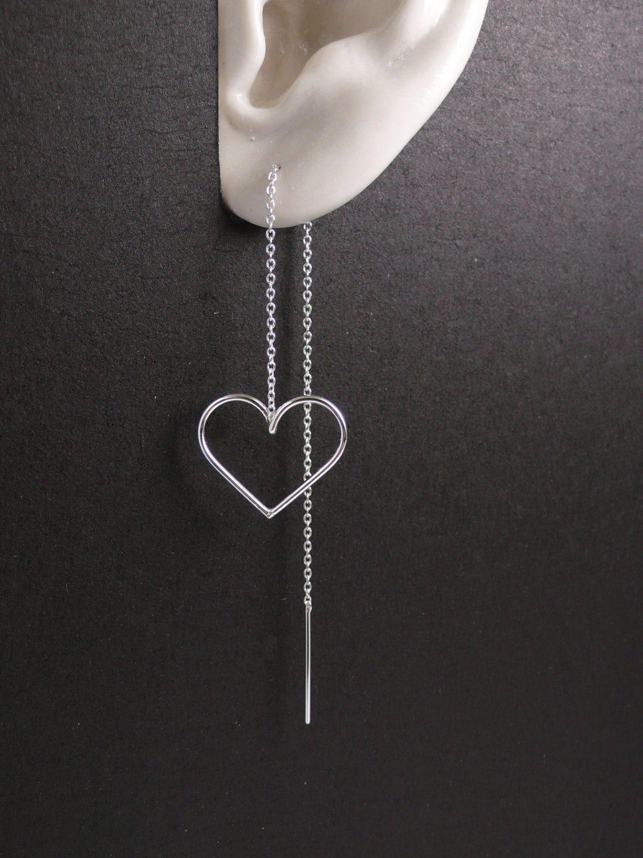 Threader Earrings Sterling Silver Thread Long Chain Ear Heart Handmade 925 Wire By Artstudio88