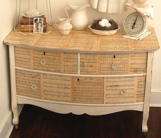 Decoupage old sheet music to furniture to give it a unique antique look. OR  do the same with small wooden boxes to create an antique storage look - Upcycled Sheet Music Crafts Clever & Crafty Pinterest Small
