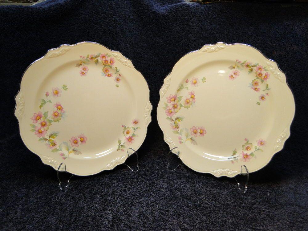 """Homer Laughlin Virginia Rose Moss Rose JJ59 Plat. Trim 9 1/2"""" Dinner Plate - TWO #HomerLaughlin"""